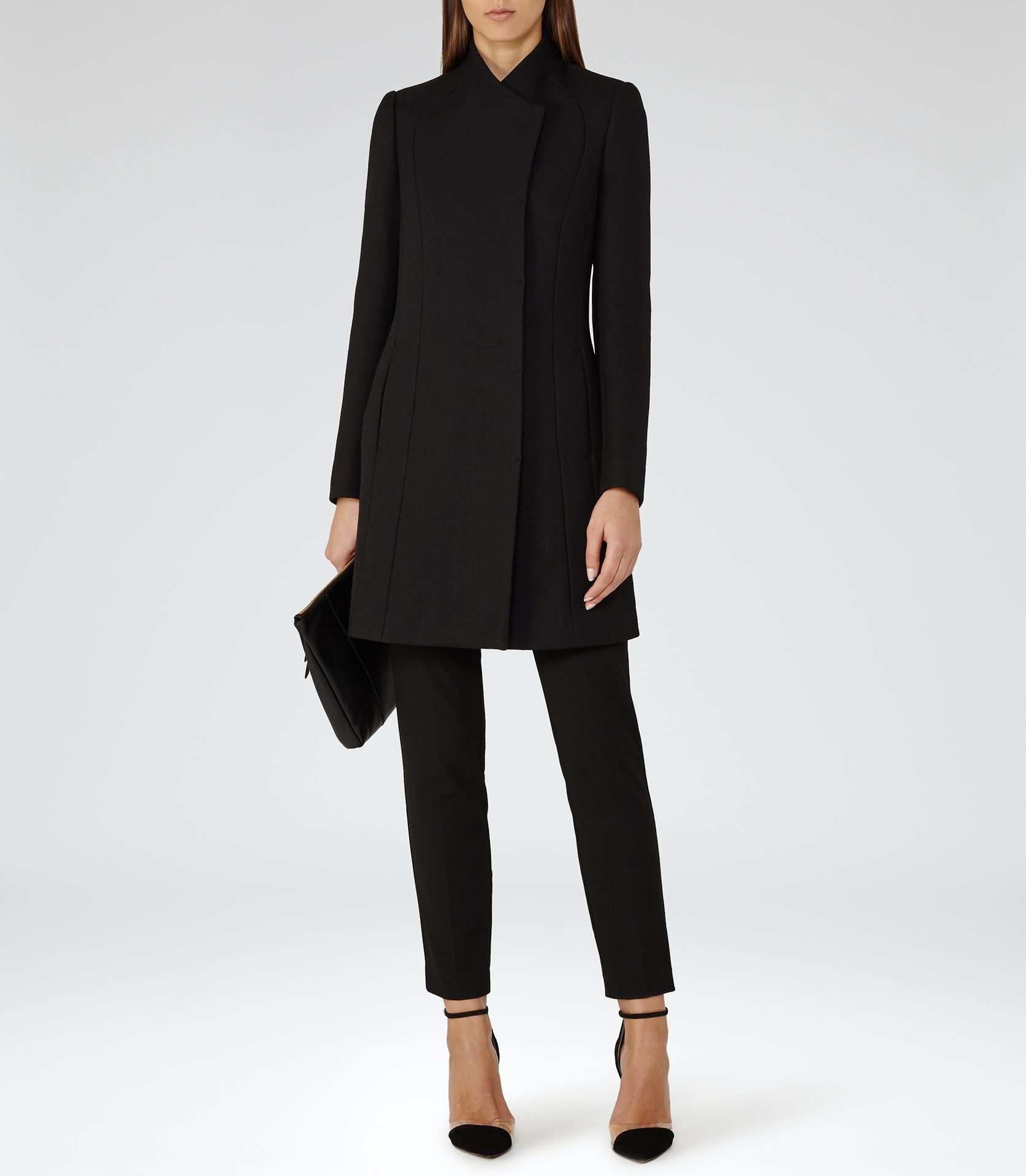 ed0b733cfc Womens Black High-neck Coat - Reiss Melania | Reiss coats | Fashion ...