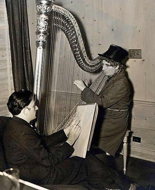 Salvadore Dali sketches Harpo Marx and his harp, 1937.
