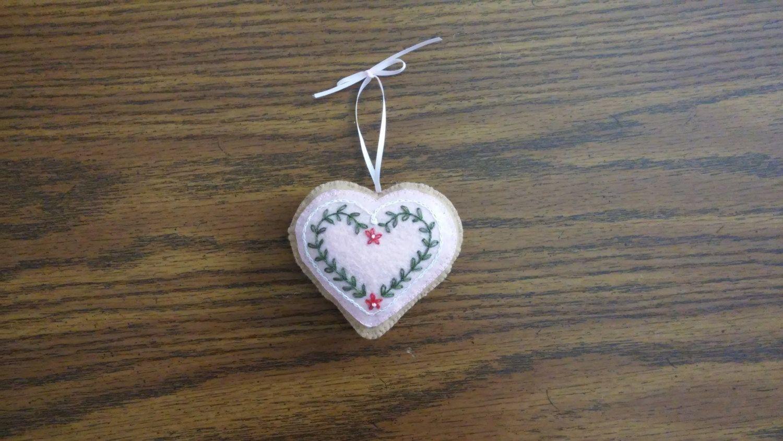 Heart Felt Ornament, Christmas Ornament, Christmas, Holidays,Hearts, Handmade,Hand Embroidery by RidgeTopRoadDesigns on Etsy