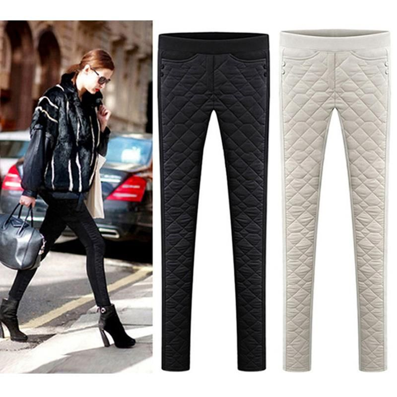 2b5922249cd  Guoran  Femme Pants Down Cotton Women Winter Trousers Black White Female  warm Pencil Pants Plus Size With Velvet Pantalon  chic  trendyclothes   bohemian ...