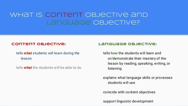 Content Objective And Language Objective Speaking Writing 4