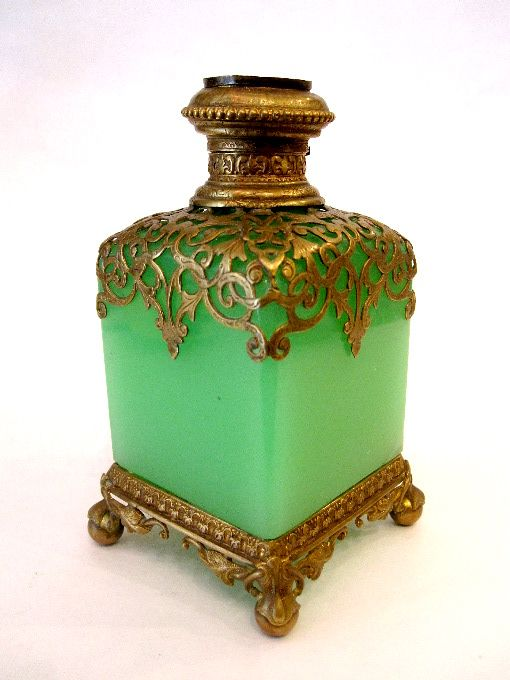 buy sale shopping online for sale French 19th Century green opaline glass scent bottle ...