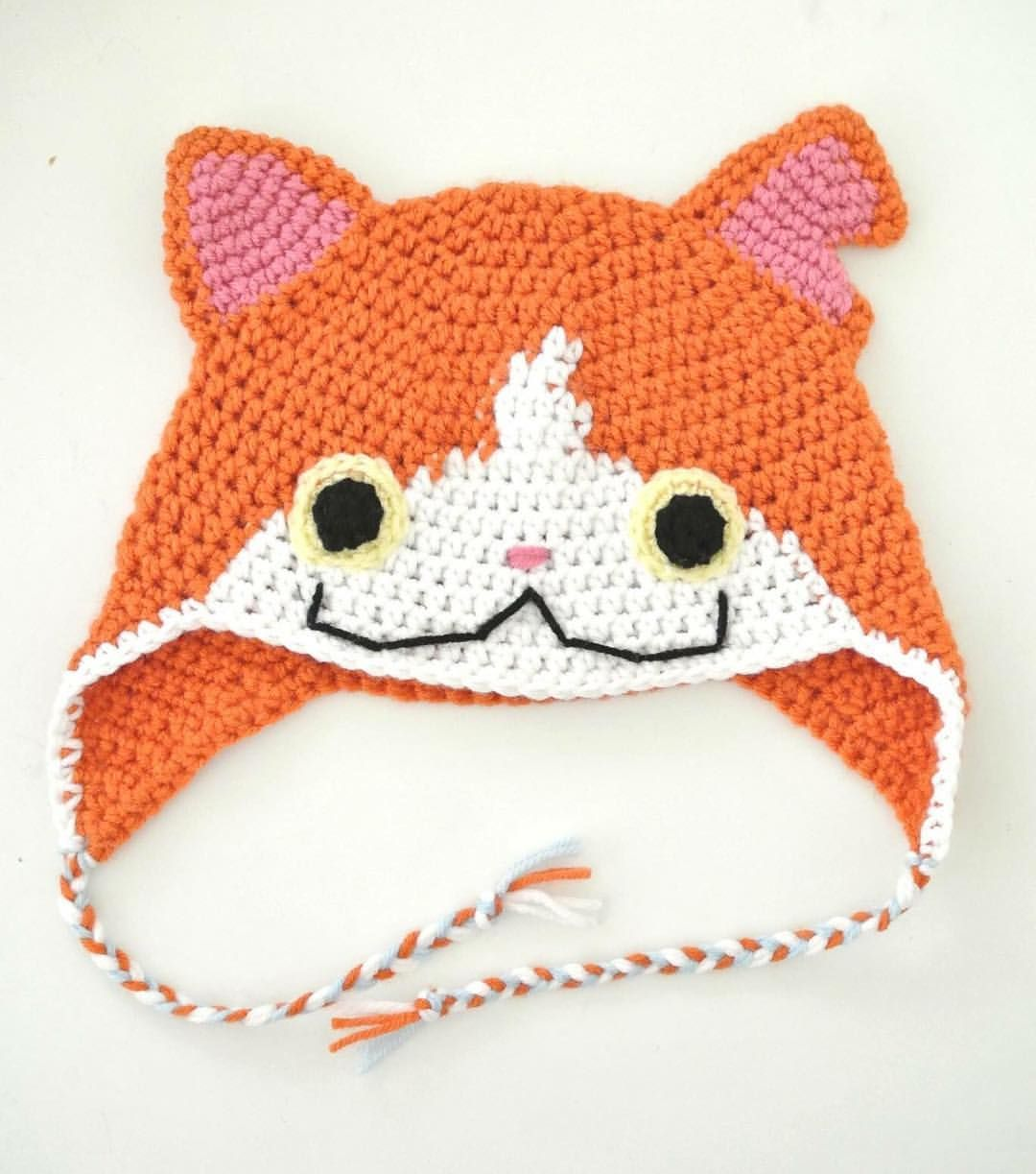 Crocheted Jibanyan hat from Yokai Watch | Crochet | Pinterest ...