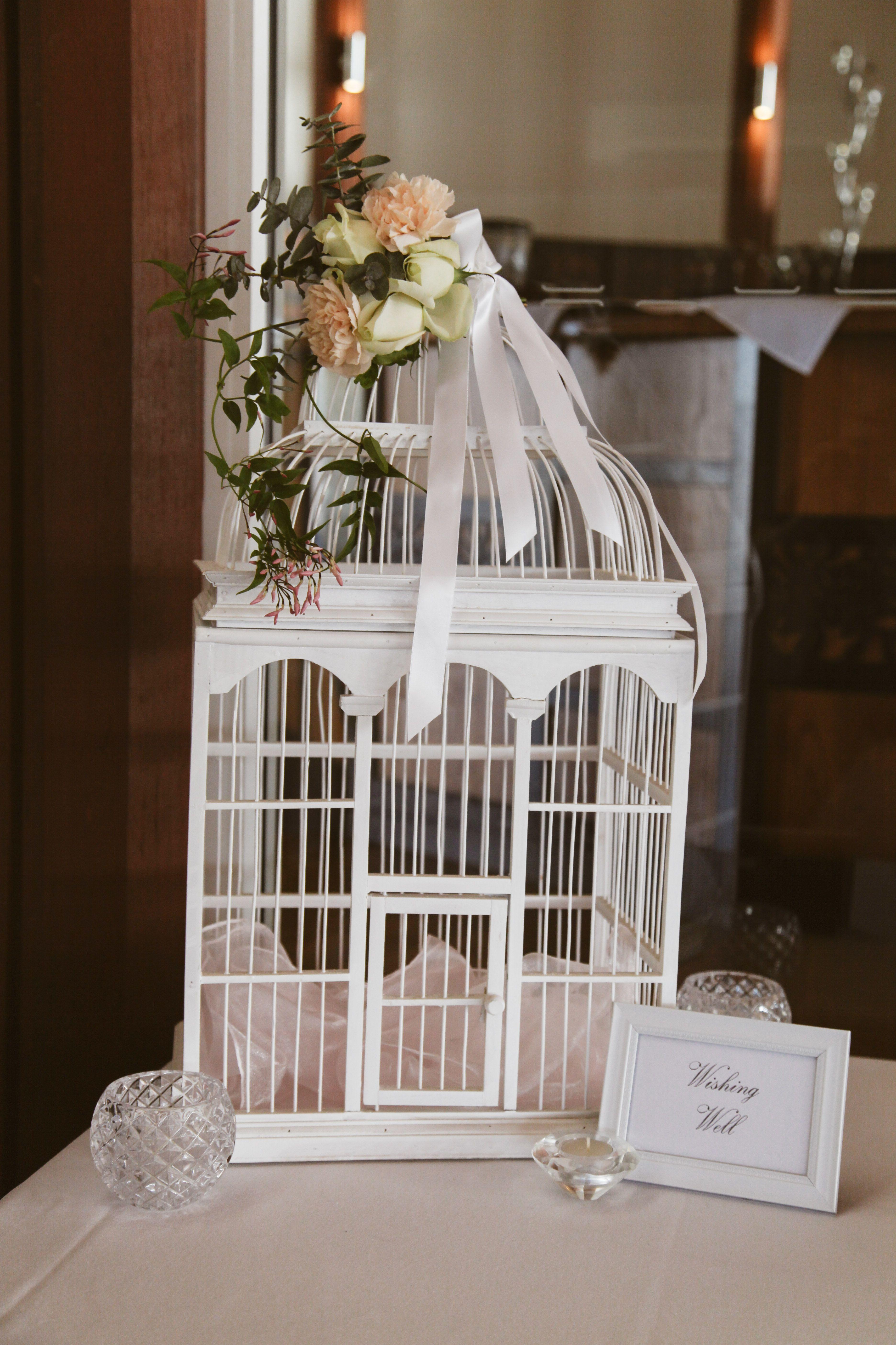 White bird cage wishing well