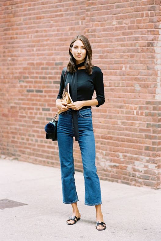 Street style   Black long sleeves top, scarf, retro jeans, sandals and a purse