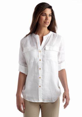 Calvin Klein  Roll Sleeve Linen Shirt