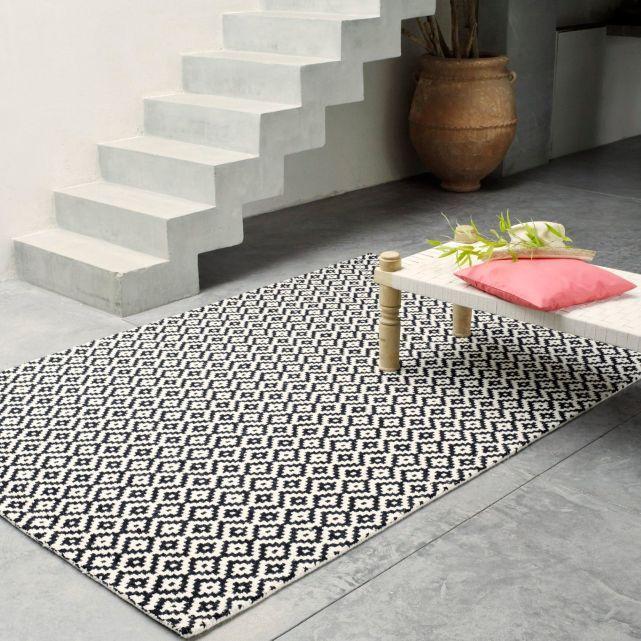 tapis tuft en laine noir et blanc la redoute for the home tapis deco et d co salon. Black Bedroom Furniture Sets. Home Design Ideas