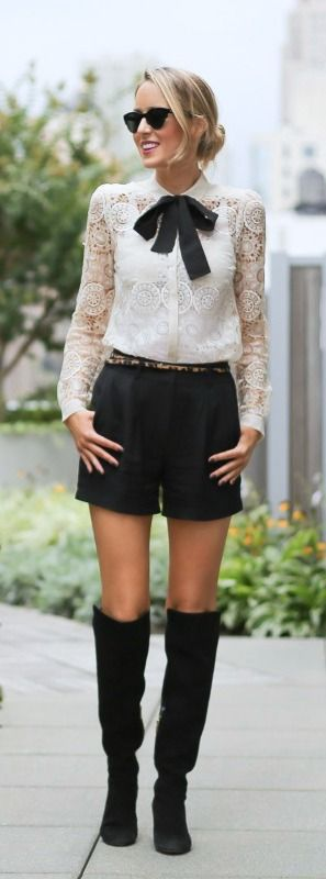 http://www.theclassycubicle.com/2014/09/nyfw-street-style-recap.html | ivory lace button front shirt, black neck tie, black silk shorts, leopard skinny belt, suede over the knee boots | new york fashion week street style #ss15 #nyfw