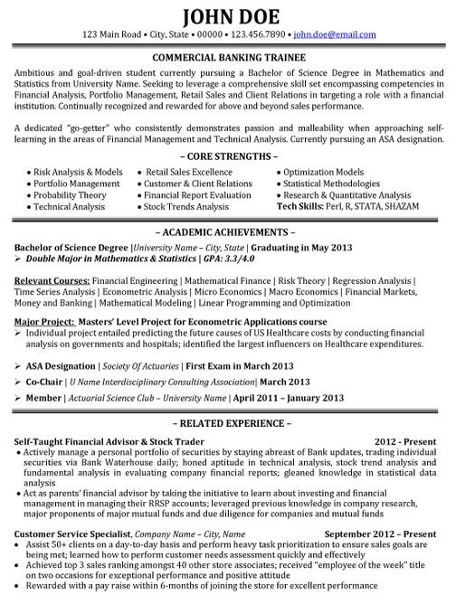 Click Here To Download This Commercial Banking Trainee Resume Template Http Www Resumetemplates101 Com Banking Resume Banking Resume Student Resume Template