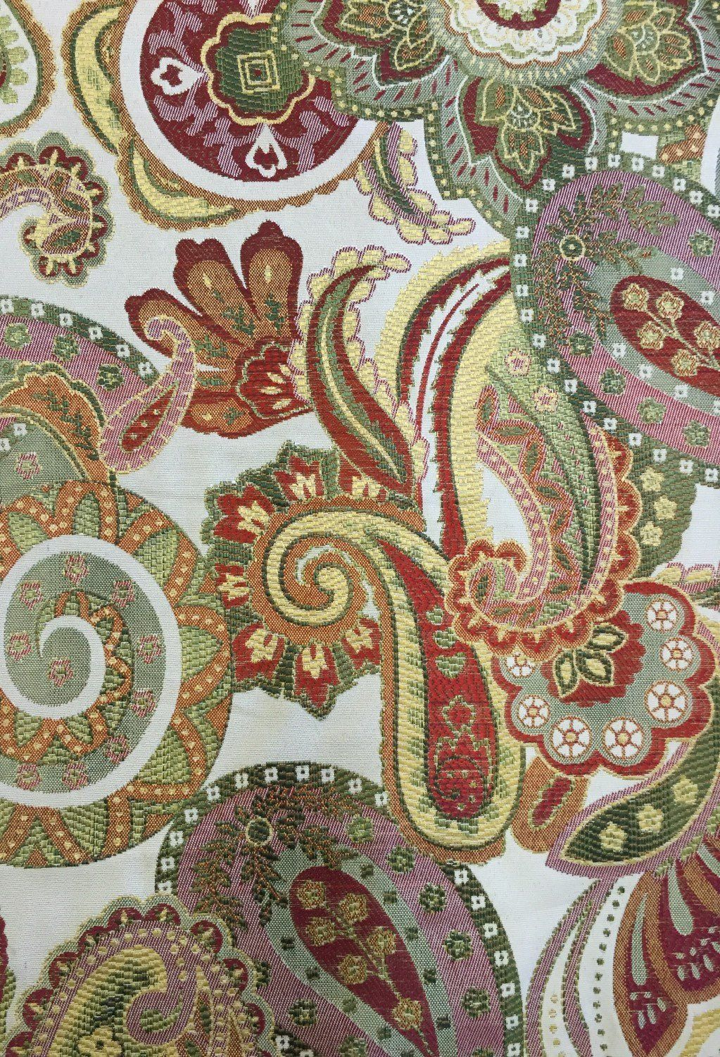 Pink Green Red Blue Paisley Upholstery Fabric By The Yard Crazy