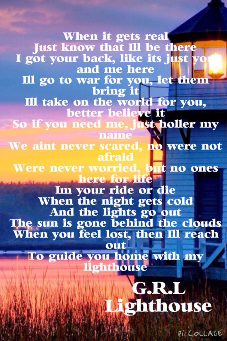 Lyrics containing the term: lighthouse