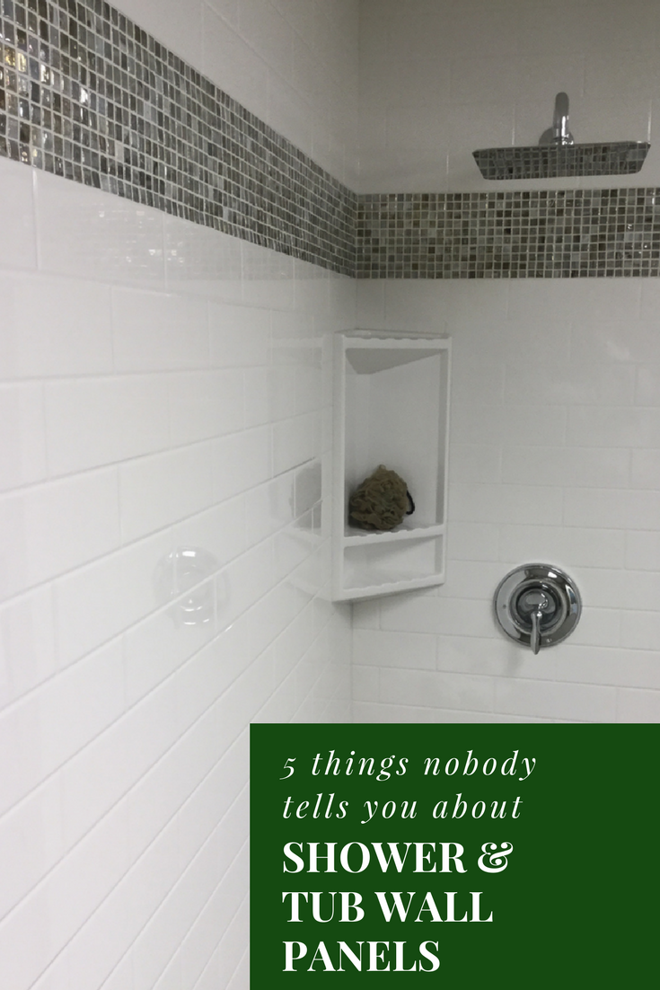 While These Shower Walls Look Like Subway Tile They Are Not They Are Grout Free Solid Surface Panels Bathroom Shower Walls Shower Tub Bathroom Wall Panels