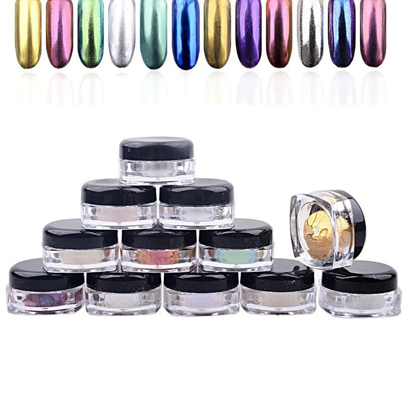 Nuevo 12 unids/set Shinning Espejo Mágico Polvo Del Polvo de Uñas Glitters DIY Nail Art Lentejuelas Decoraciones Herramientas Pigmento de Cromo