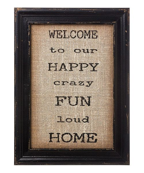 Look at this 'Happy Fun Home' Burlap Framed Sign on #zulily today!