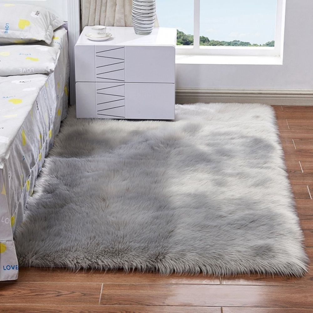 Gray Bedside Mats Hairy Artificial Sheepskin Wool Carpet For Living Room Bedroom Chair Cover Warm Long Fluffy Skin Fur Area Rugs Rugs On Carpet Plush Carpet Living Room Carpet