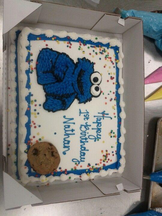 Baby Cookie Monster Cake In 2020 Monster Birthday Cakes