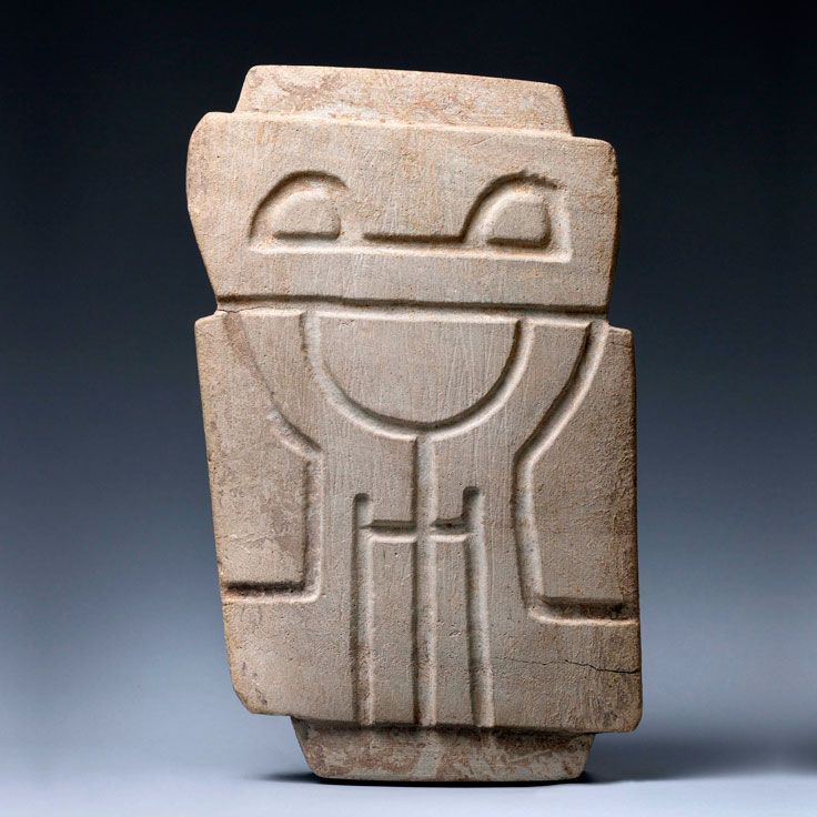 Valdivia Stela, Abstract Standing Figure with Stylized Anthropomorphic Owl Motifs • 2300-2000 BCE (Early Piguigua-Late Piquigua Phase, Early Formative Period)