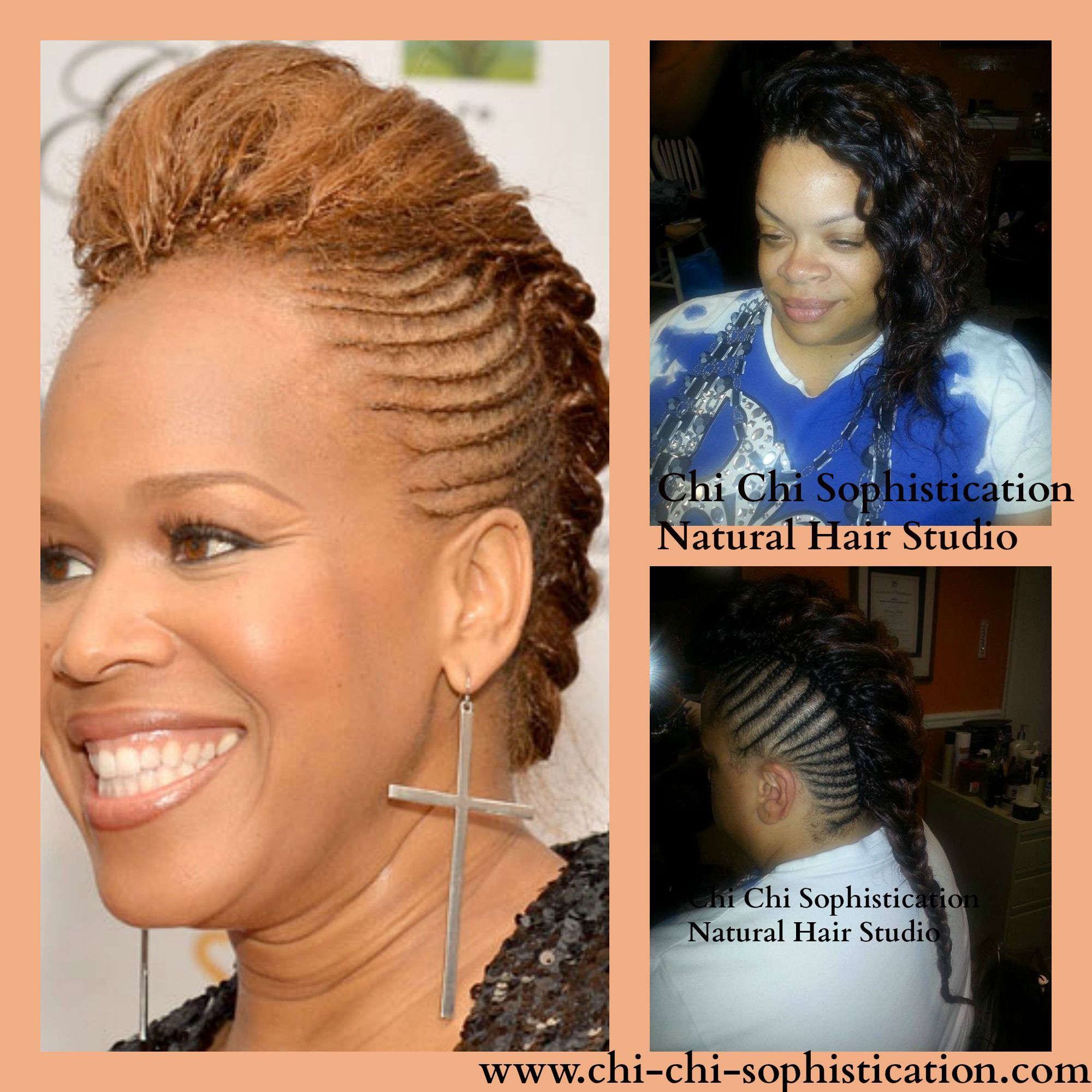 Our crochet cornrow mohawk hairstyle was inspired by tina campbell