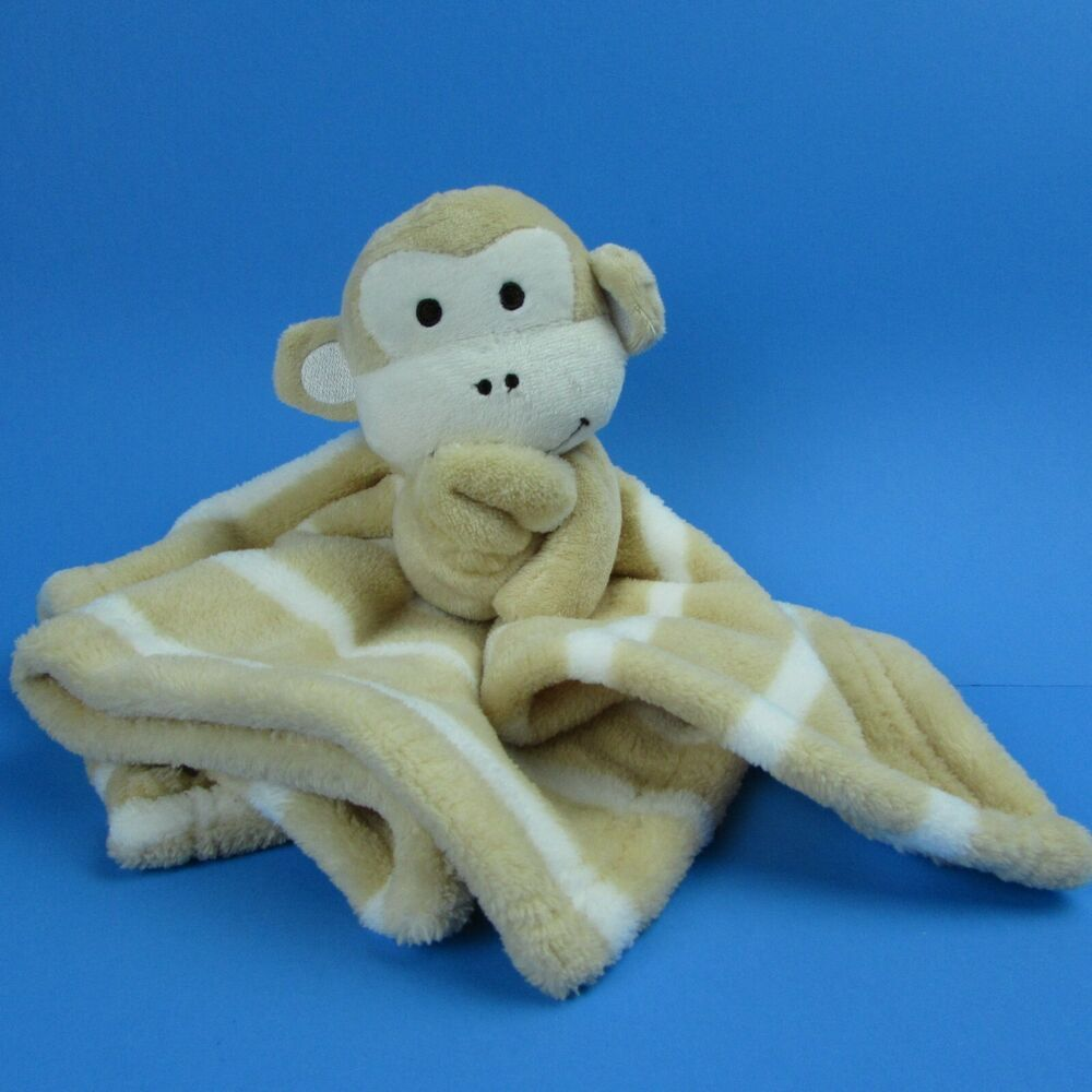 Hugging Monkey Tan Striped Plush Baby Security Blanket 14x14 Lovie SL Home  #SLHomeFashions #babyblanket #babylovey #lovey #lovie #monkey #securityblanket #securityblankets