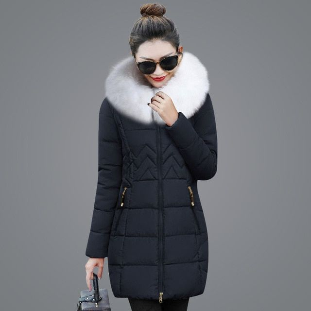 5599f1df1dd97 Winter female jacket 2018 New White fur collar women s winter jacket hooded  Down cotton jacket Thick