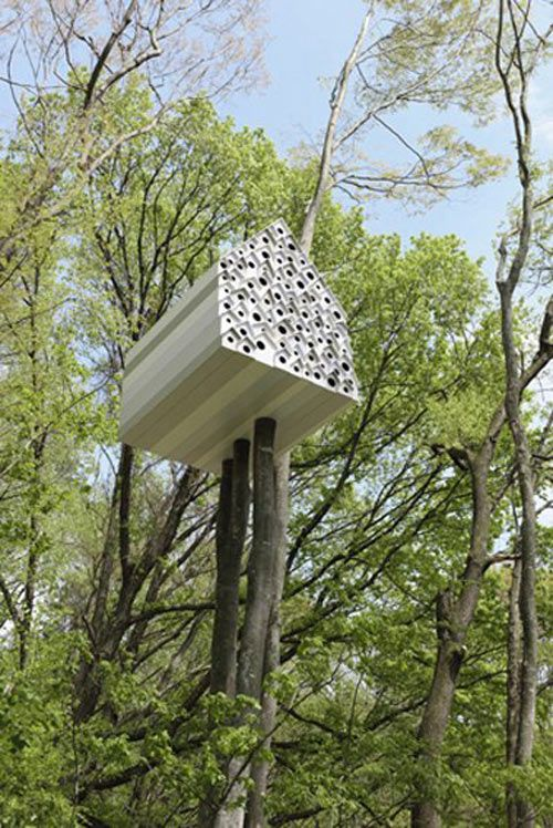 This birdhouse-shaped treehouse designed by Nendo houses two birds with one stone.