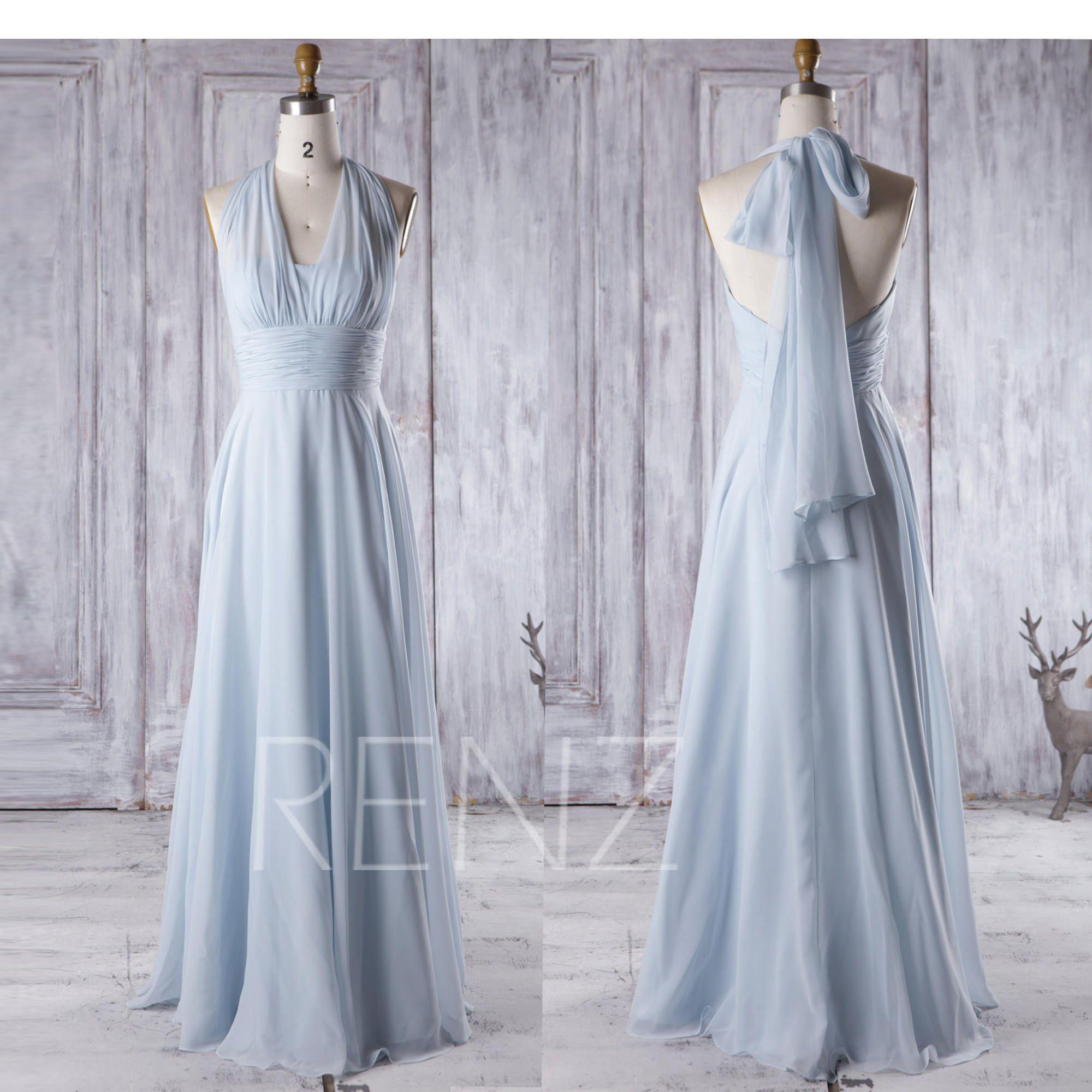 Bridesmaid dress light blue chiffon dresswedding dressconvertible