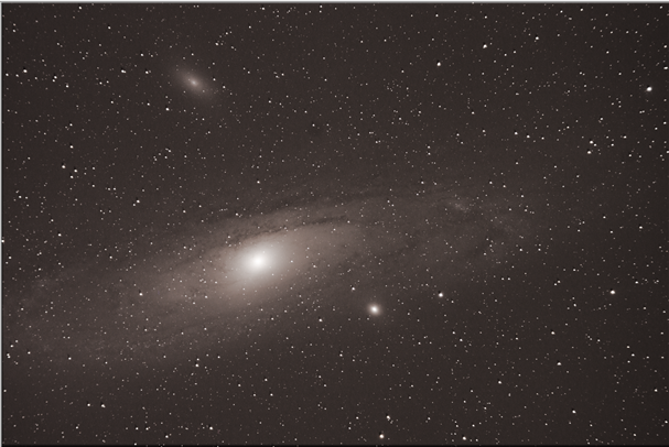 Light from Andromeda Galaxy 2.5 million years ago (it takes that long to reach Earth)    Stack of sixteen 150-second exposures