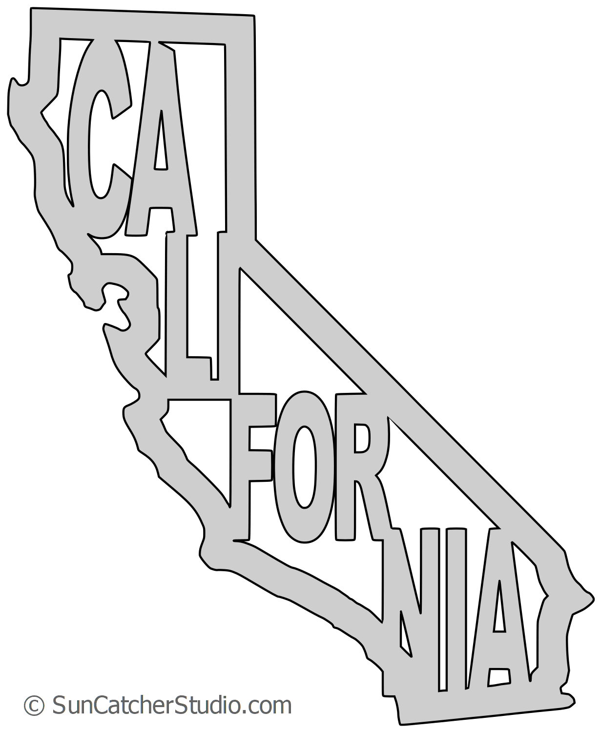 California – Map Outline, Printable State, Shape, Stencil, Pattern