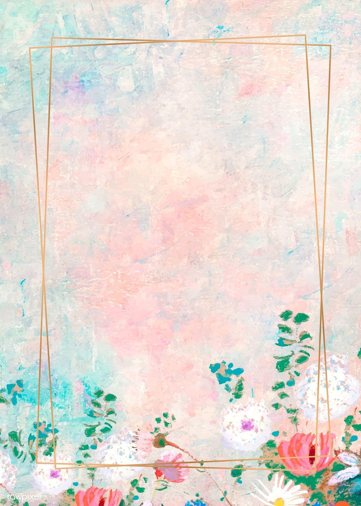 Download Premium Vector Of Rectangle Gold Frame On Pastel Background Pastel Background Flower Background Wallpaper Pastel Background Wallpapers