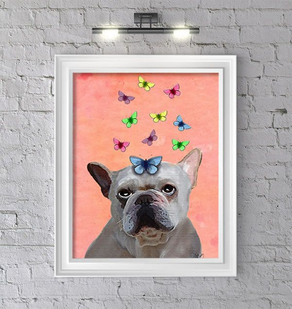 White French Bulldog and Butterflies, Art Print