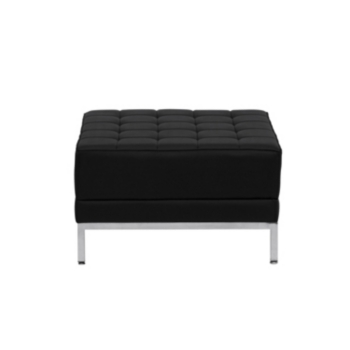 Hercules Imagination Series Black Leather Ottoman