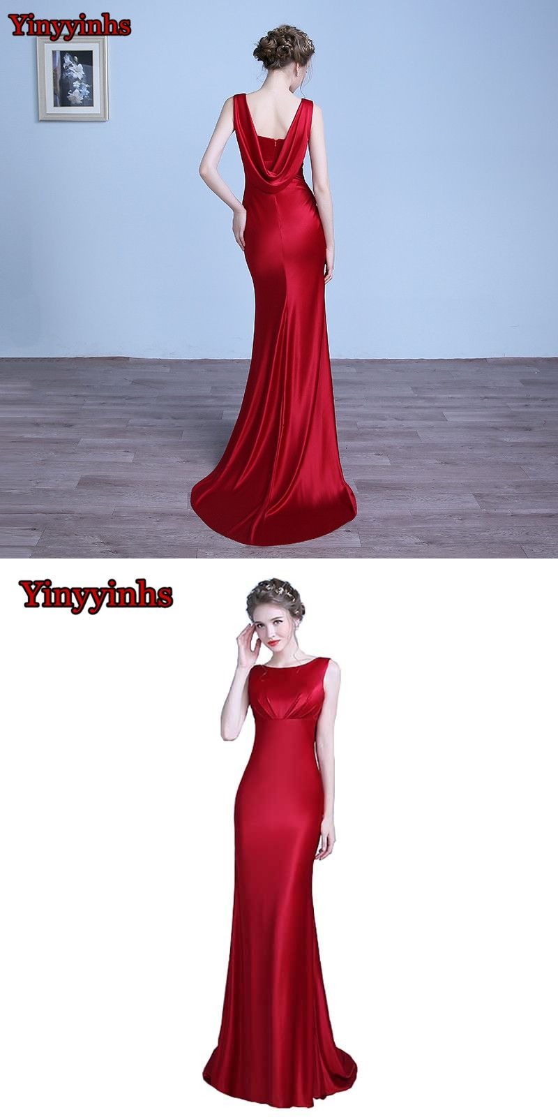Yinyyinhs burgundy scoop mermaid prom dresses custom made black red