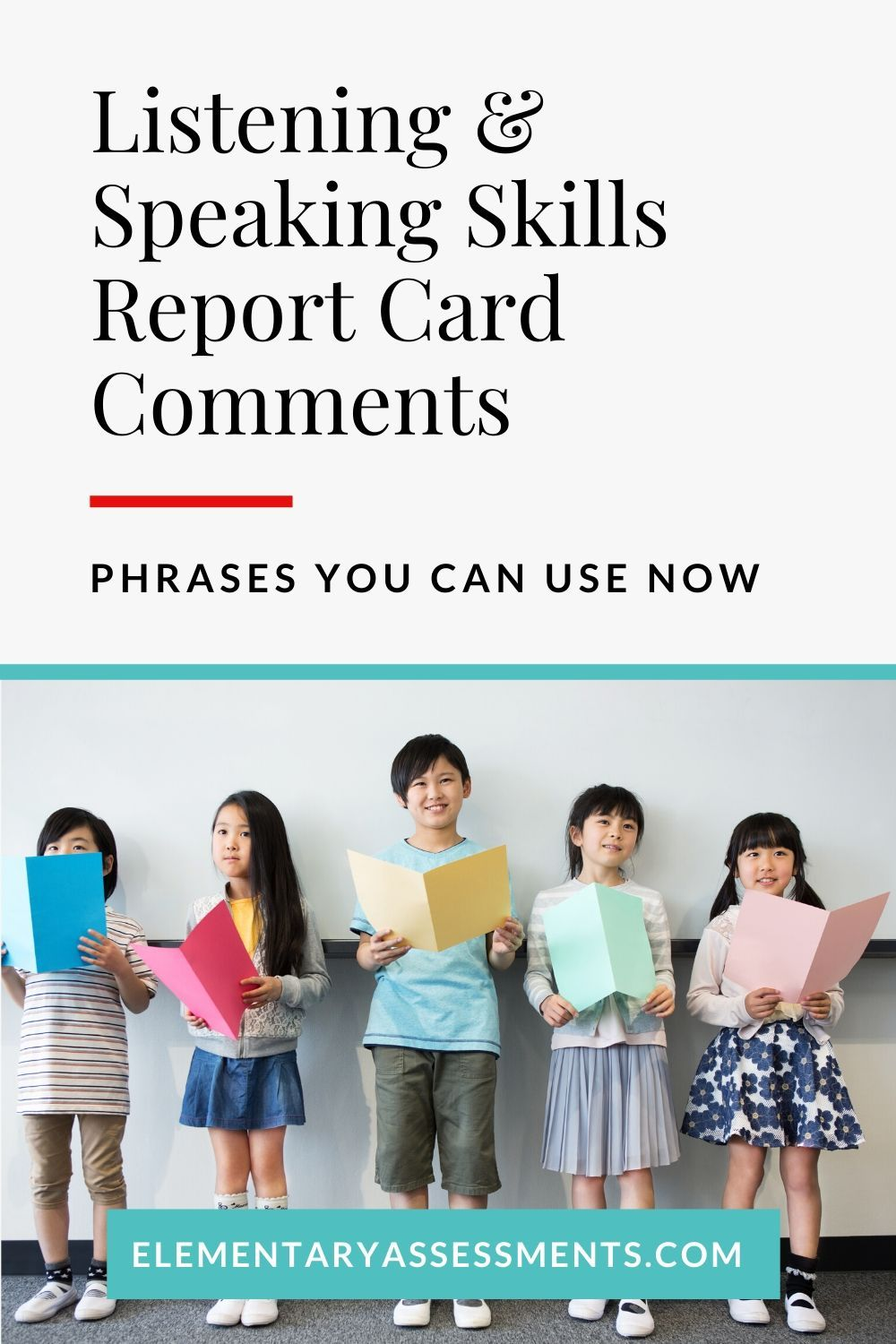 Listening speaking skills report card comments phrases