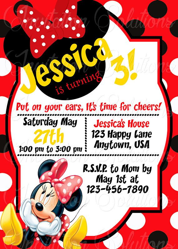 Minnie Mouse Girls Birthday Party Invitation Red Invite Style 3