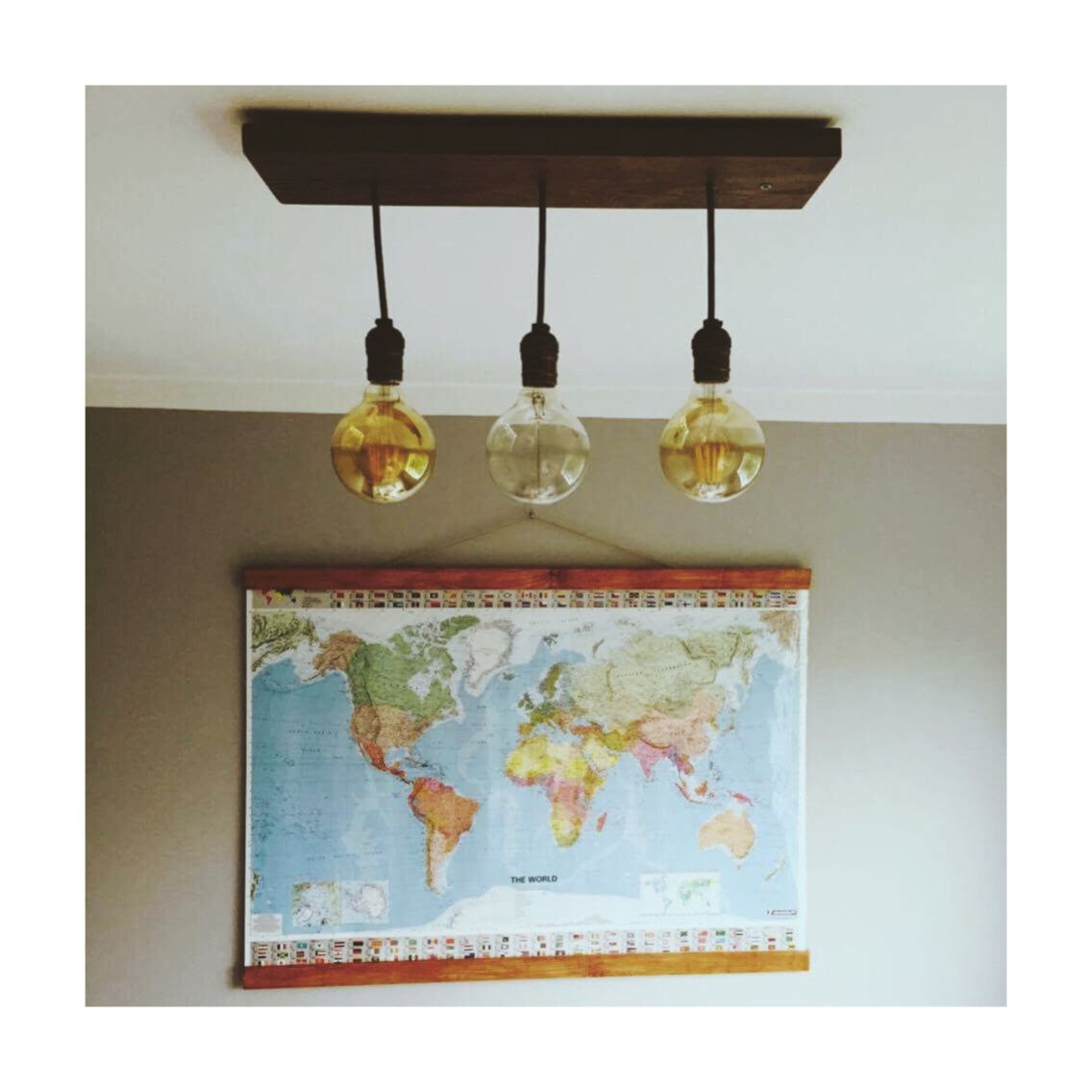 My bedroom interior in Kaunas - DIY map and ceiling lamp makes my ...