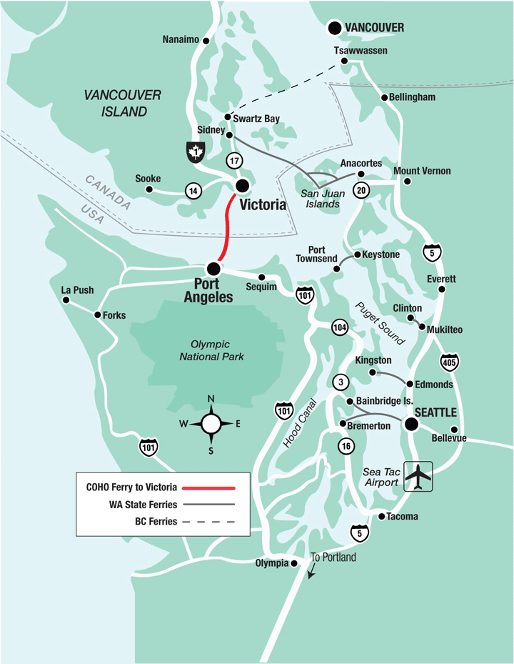 Bc Washington Map.Route Map For Coho Ferry Between Port Angeles Wa And Victoria Bc