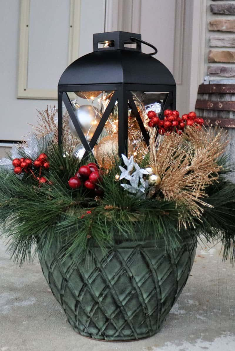 Outdoor Christmas Planter For Your Front Porch Christmas Lanterns Outdoor Christmas Planters Outdoor Christmas Decorations