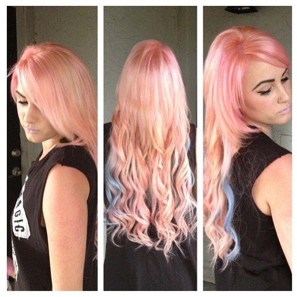 Pin By Hannah Giles On Chromasilk Vivids Pink Peach Hair Hair Inspiration Color Peach Hair