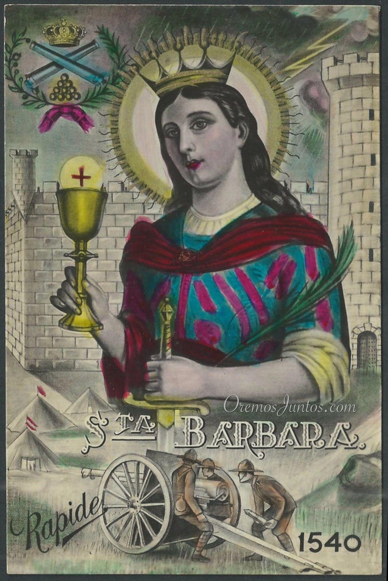 Santa Bárbara Virgen Y Mártir Estampa Antigua Coloreada A Mano Catholic Images Sacred Art Catholic Saints