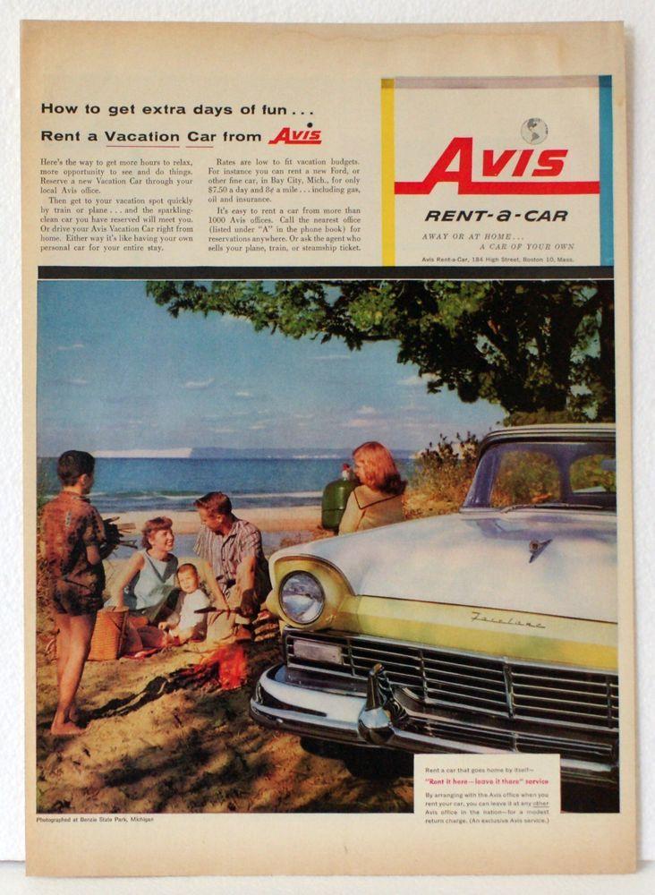 Original Vintage Ad FORD FAIRLANE, AVIS RENT-A-CAR, Good Great Old ...