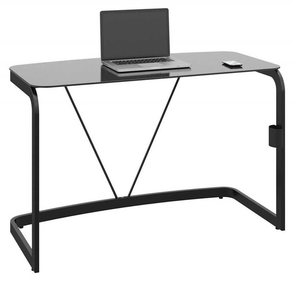 Best Sleek High Gloss Black Metal And Glass Laptop Desk Home 640 x 480