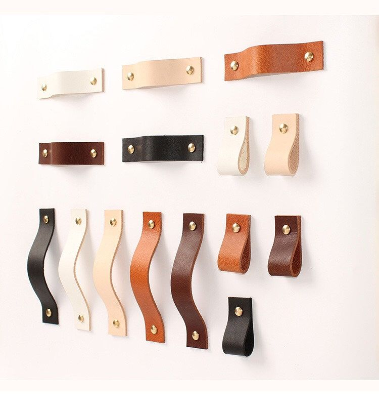 8 6 7 5 4 Vegetable Tanned Leather Door Handles For Cabinet