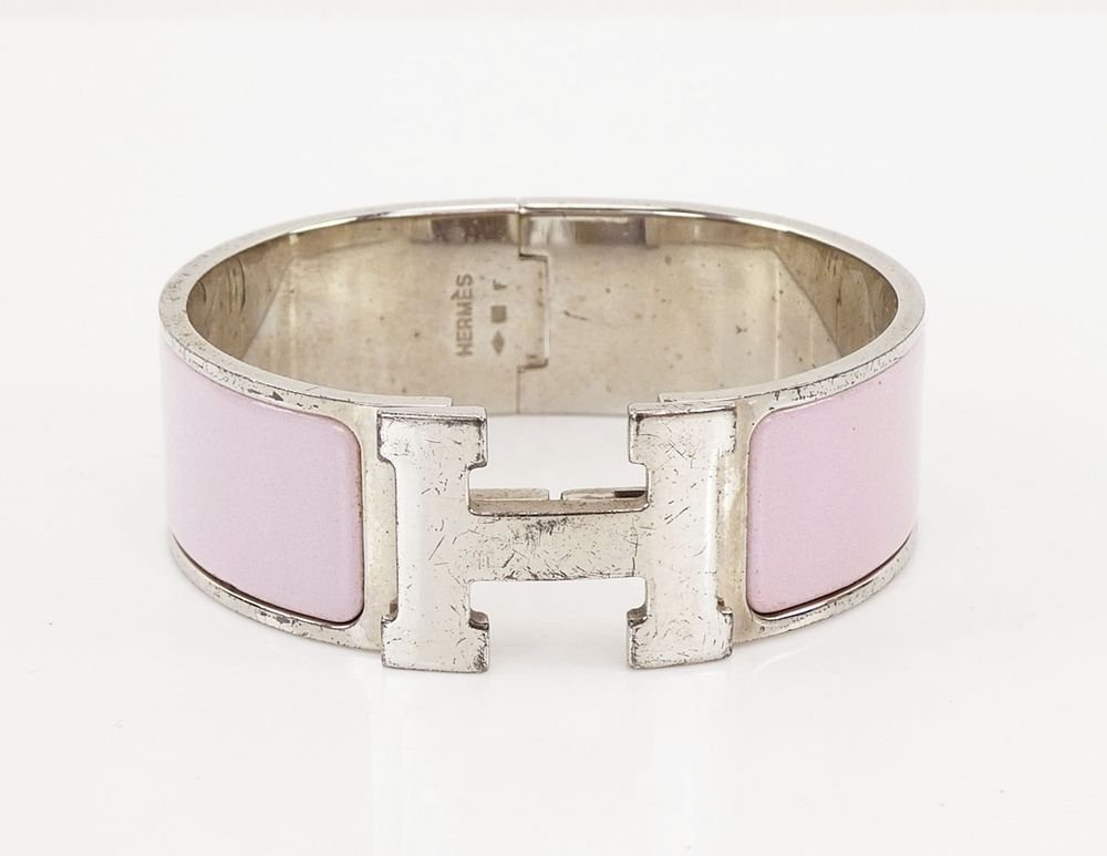 726fc74d013a Authentic HERMES Clic Clac H Wide Bracelet Silvertone and Pink Enamel   29915 (eBay Link)