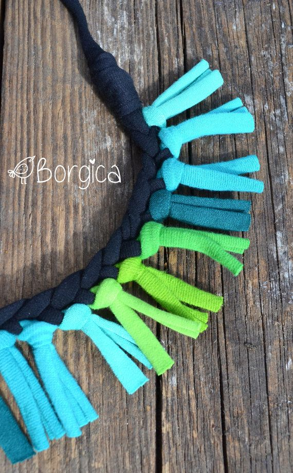 Turquoise green stripes - upcycled fabric tshirt yarn necklace, fiber jewelry…
