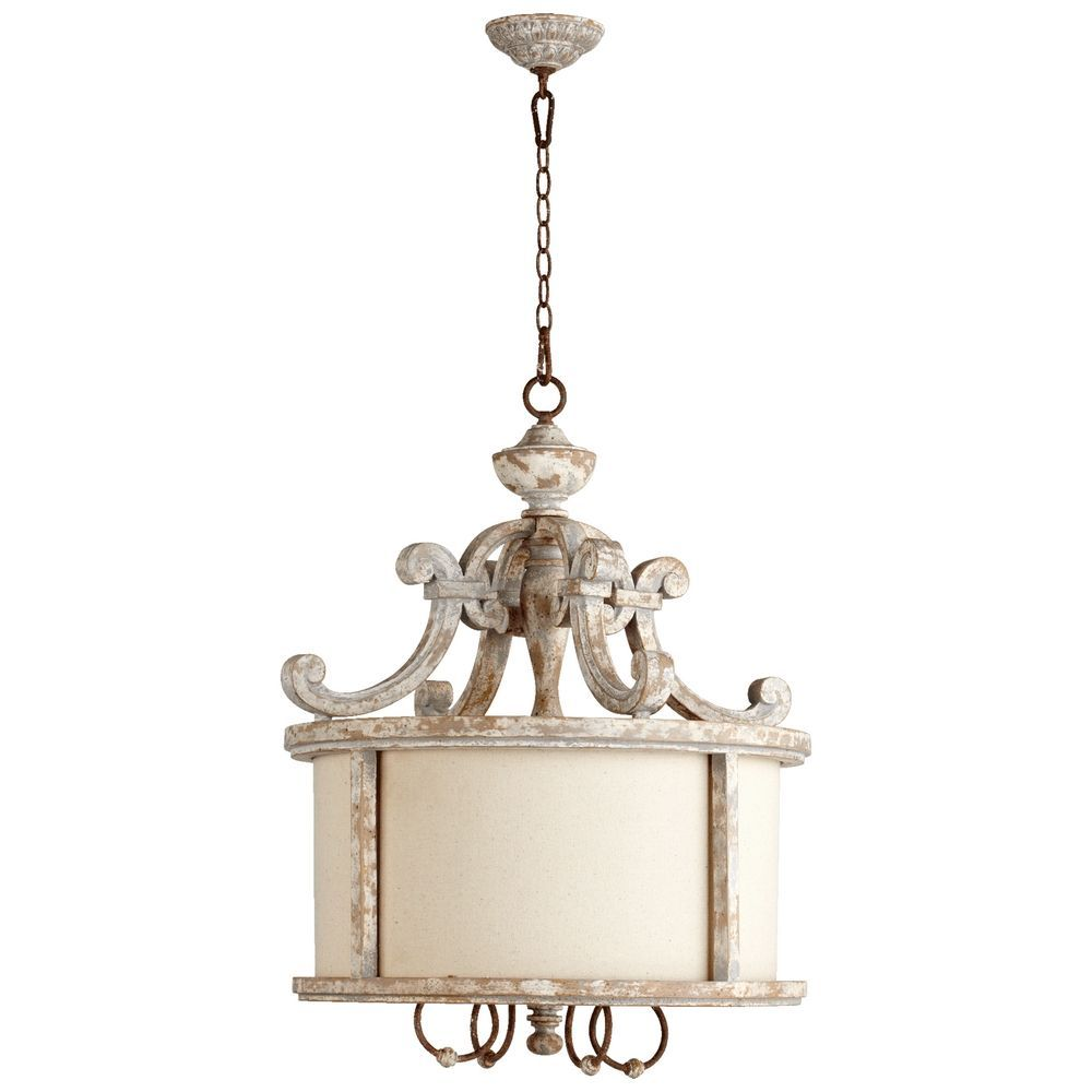 french country pendant lighting. Quorum Lighting La Maison Manchester Grey W/ Rust Accents Pendant Light With Drum Shade 8052-4-56 French Country :