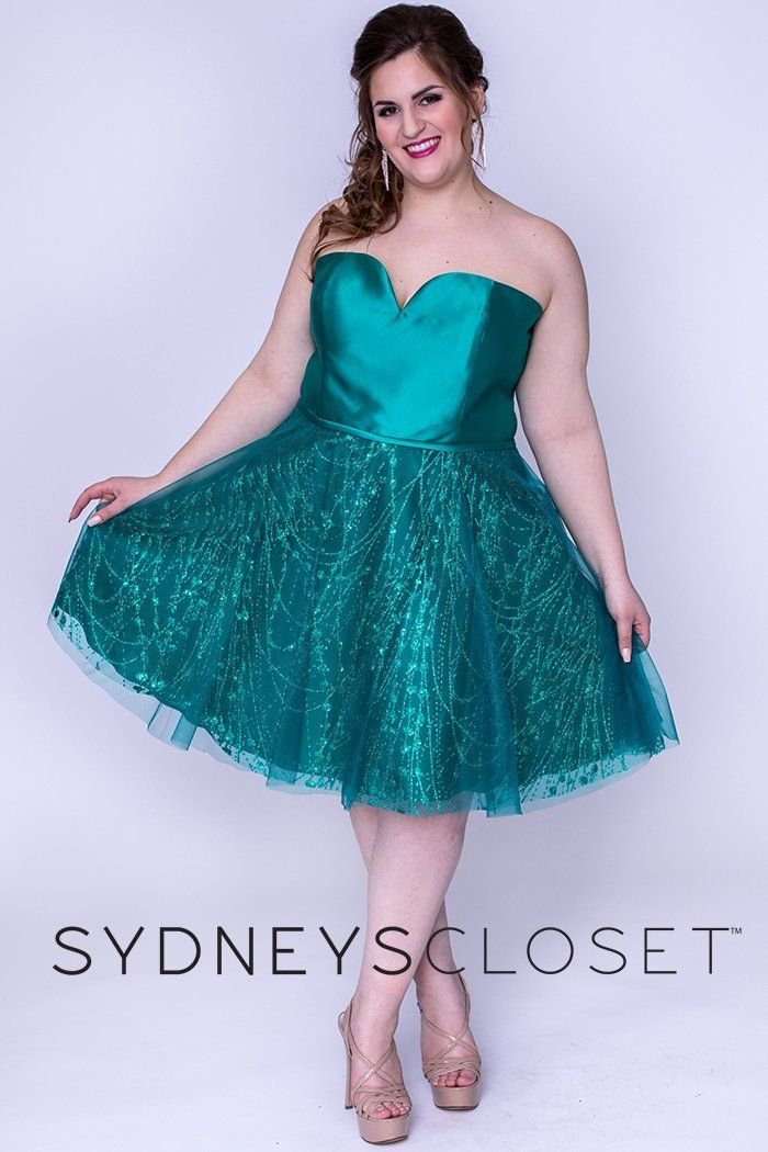 Limited Stock, Discontinued SC8101 Edgy and current, this strapless Mikado satin and tulle ensemble will flatter your shape. Be a sassy sweetheart wearing a sweetheart neckline on this strapless party dress. Your shape will look stunning thanks to the natural waistline and flattering a-line skirt. This plus size emerald or sapphire homecoming dress has a tone-on-tone color scheme that is always a winning combination for Homecoming, New Year's Eve, award ceremonies, and more. Mikado satin/Embroid