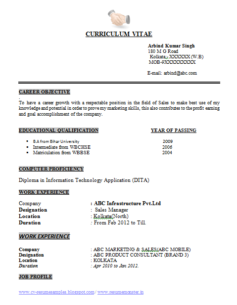 ba resume format page 1 - Resume Format Doc 1 Page