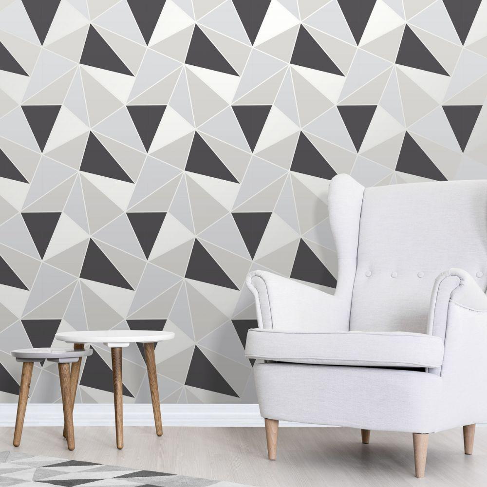 Apex Geometric Wallpaper Black And Silver Fine Decor Fd4