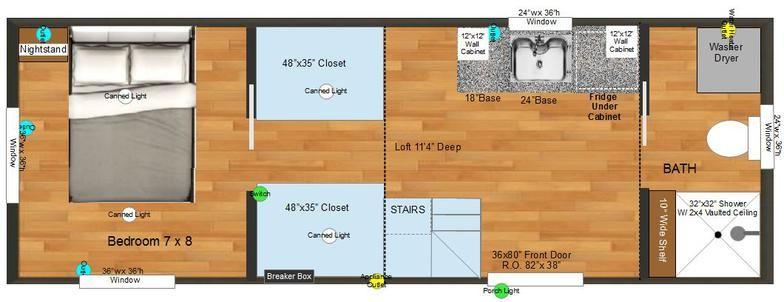 Main floor bedroom closets tiny house ideas for Tiny house with main floor bedroom