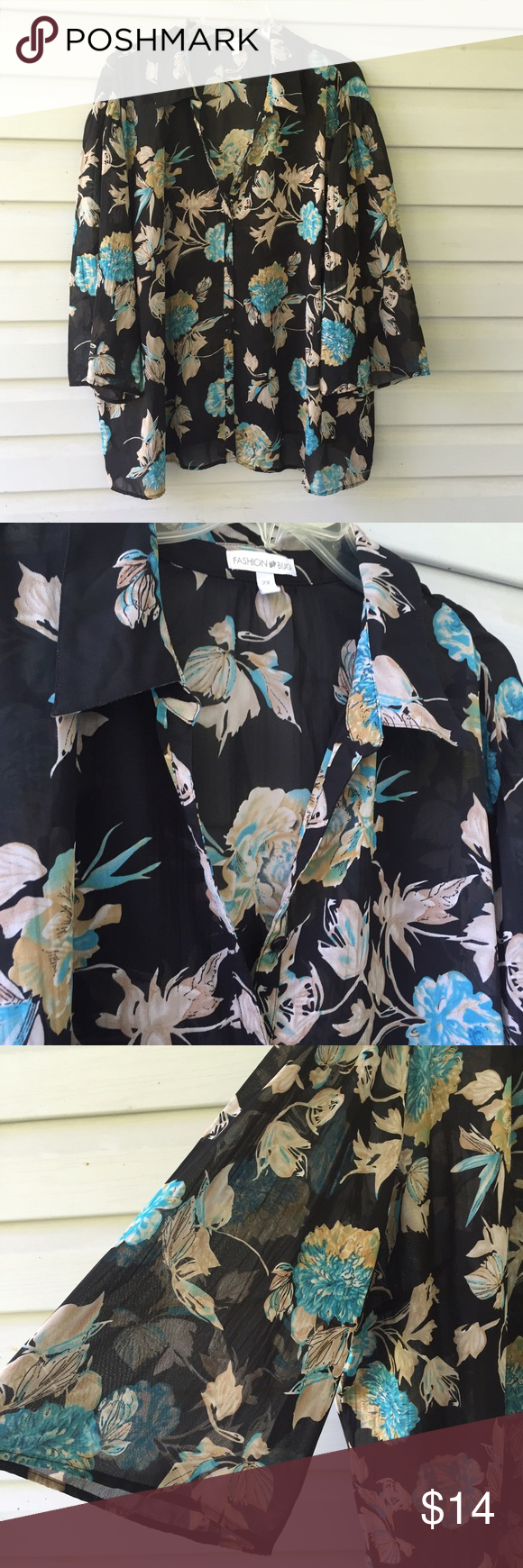 """Black Floral blouse 2X Semi sheer half wide sleeved blouse., Black with floral print button front with loose fit by fashion bug. 62x29"""" Fashion Bug Tops Blouses"""